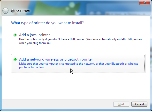 Select the option to install a network printer.