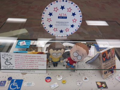 Photo of a featured display case celebrating the ADA's 25th anniversary.