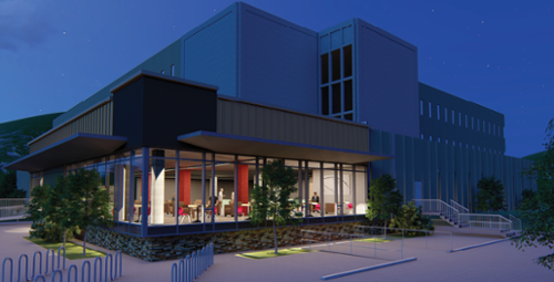 animated image of new library learning commons at night