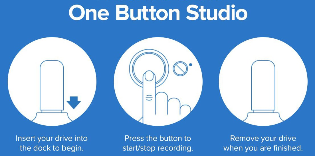 Instructions on how to use the One Button Studio. For the first step, insert your drive into the dock to begin. Next, press the button to start or stop recording. And lastly, remove your drive when you are finished.