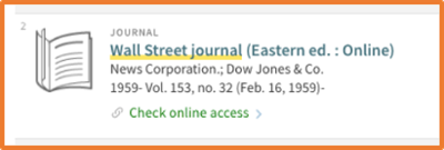 screenshot of Wall Street Journal holdings record inside OneSearch