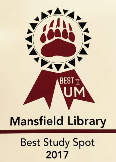 award of Best Study Spot 2017 by the Best of UM Mansfield Library