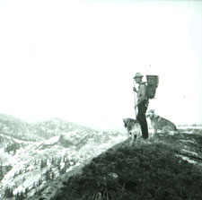 Man with two dogs on a mountain top.