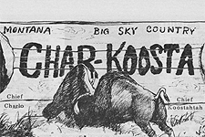The Char-Koosta newspaper headline image of a bison.