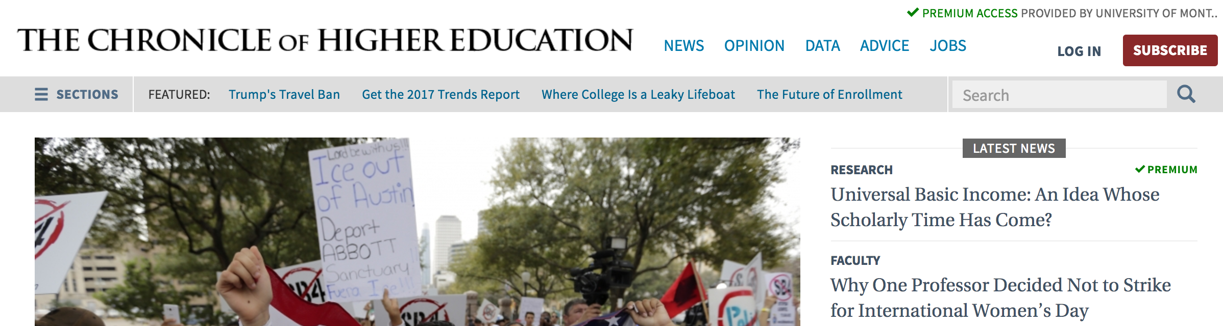 A screenshot of chronicle of higher education on the library website. Miscellaneous ejounals has a circle around it and says click here