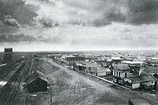 photograph of birds eye view of unidentified town in 19th century Montana