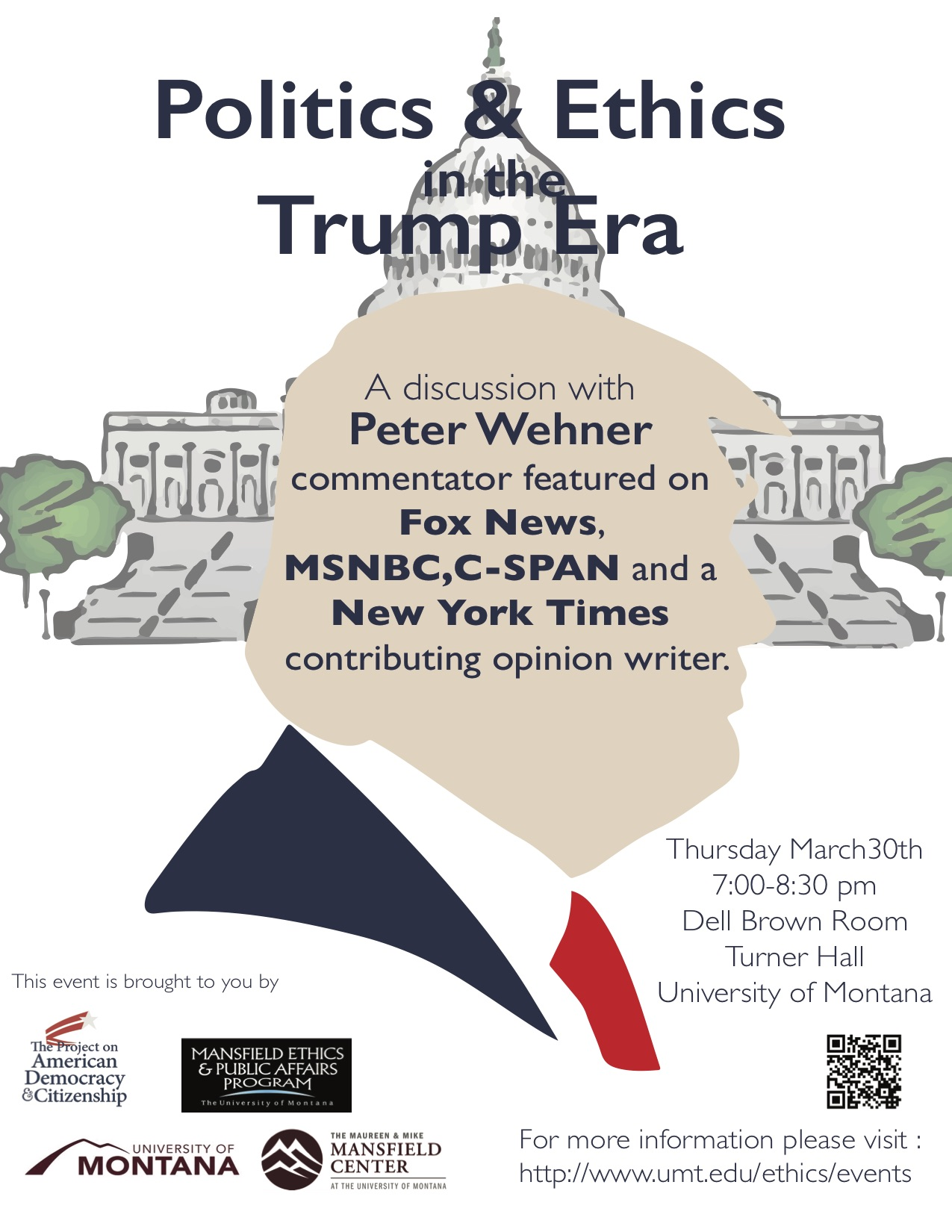 talk tonight march 30th titled politics and ethics in trump era held in turner hall 7pm to 8pm with special guest Peter Wehner