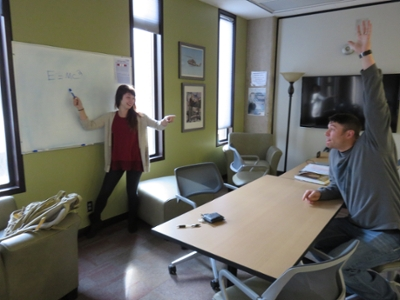 Picture of two students studying collaboratively in a Group Study Room.