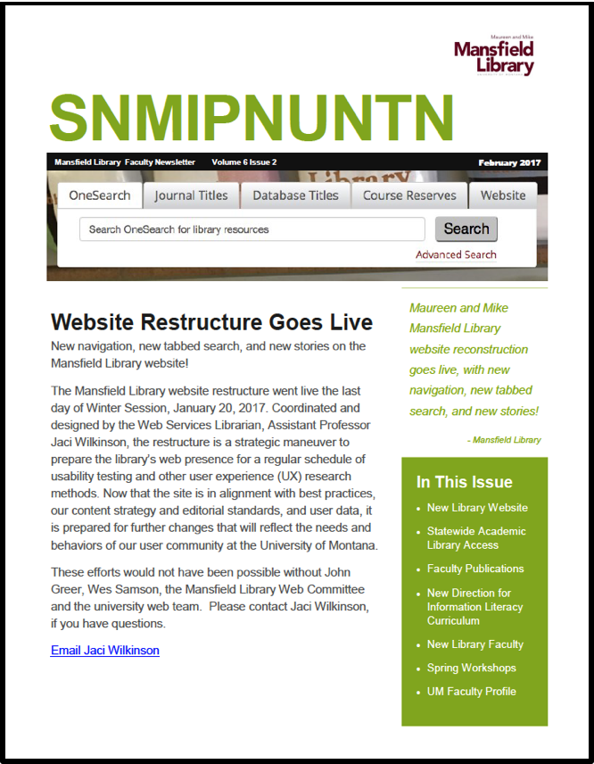 screenshot of first page of newsletter