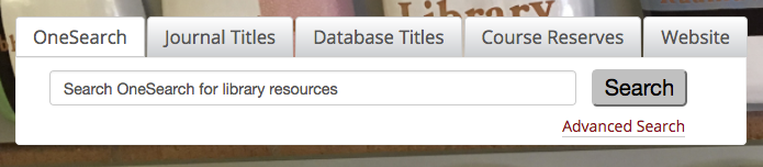 screenshot of tabbed search from homepage of restructured site