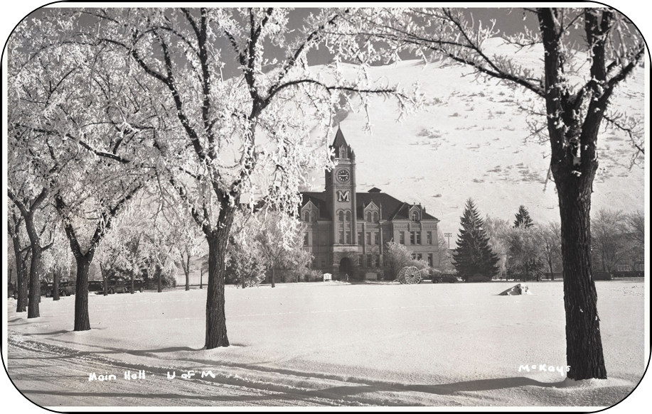 historic black and white photo of university hall