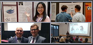 compilation of images of students presenting posters and presentations at UMCUR