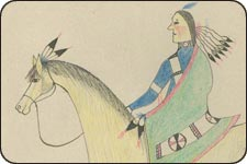 An image of a Indian on horseback from the ledger drawings.