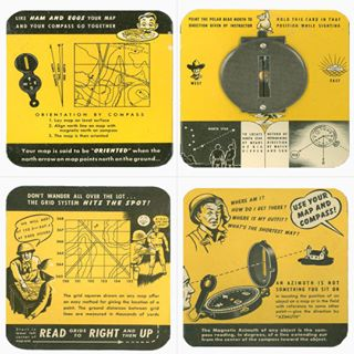 United States Army cardboard compass with illustrations and directions