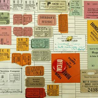 page of tickets from James Rule's scrapbook
