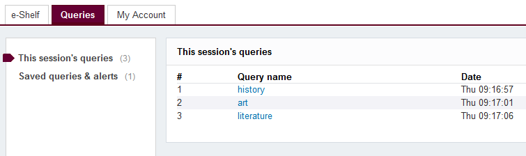 Session queries example