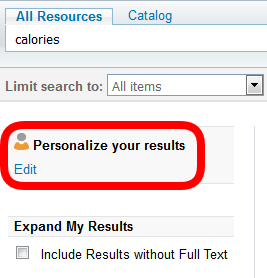Personalize your results example