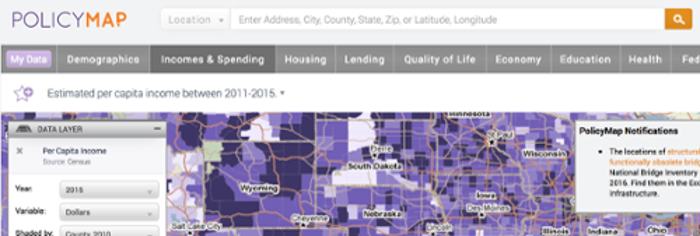 screenshot of mockup policy map of united states colored by per capita income